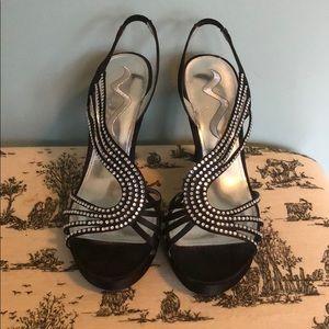 EUC Nina Black sling back heels with rhinestones.